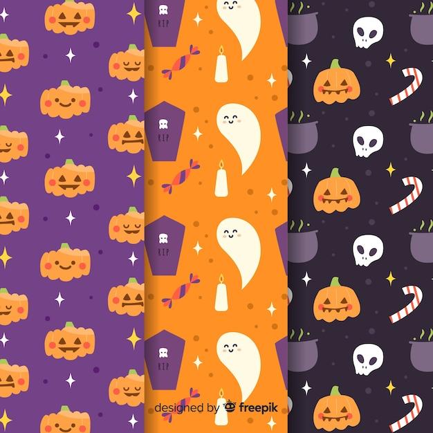 Hand gezeichnete halloween-mustersammlung Kostenlosen Vektoren