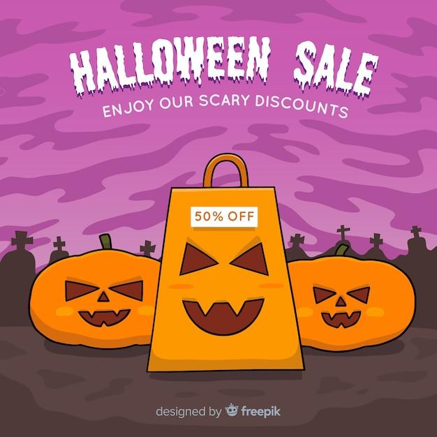 Hand gezeichnete halloween-verkaufszusammensetzung Kostenlosen Vektoren
