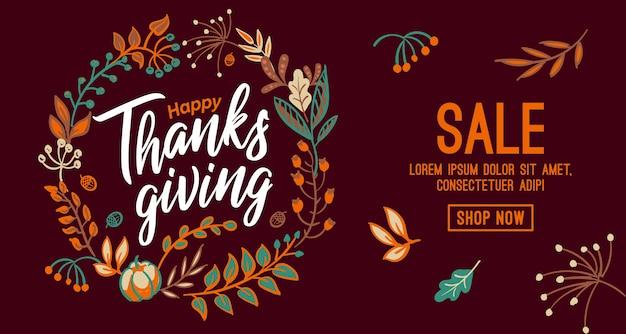 Hand gezeichnete happy thanksgiving-typografie im herbstkranzbanner. feiertext mit beeren und blättern Premium Vektoren