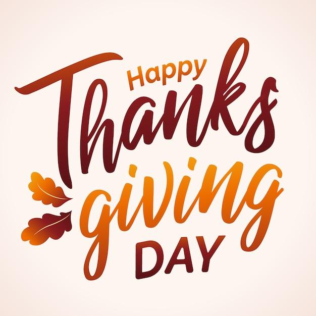 Hand gezeichnete happy thanksgiving typografie in herbstfarben Premium Vektoren
