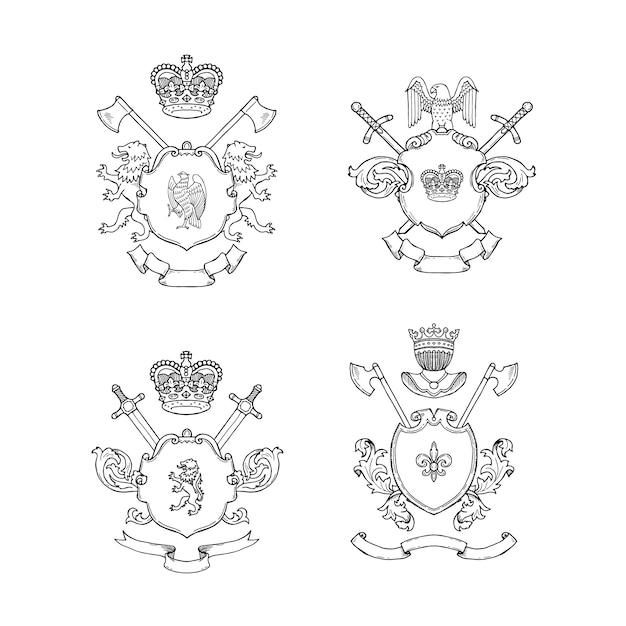 Hand gezeichnete heraldik Premium Vektoren