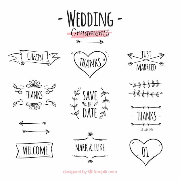 Hand Gezeichnete Hochzeit Ornament Sammlung Download Der