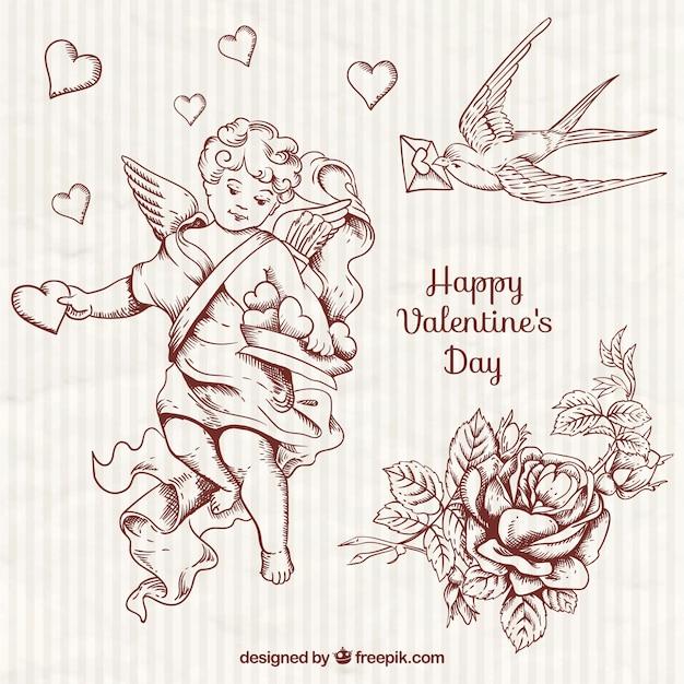 Hand gezeichnete hübsch amor und valentine elemente Kostenlosen Vektoren