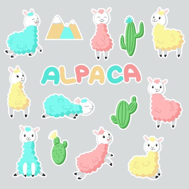 Hand gezeichnete illustration der alpaka-aufkleber Premium Vektoren