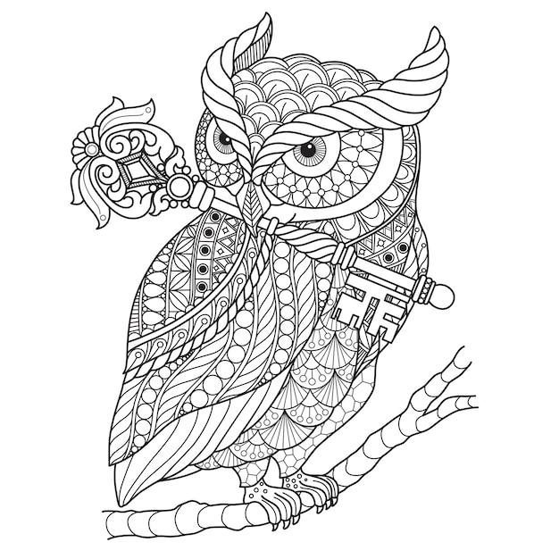 Hand gezeichnete illustration der eule in der zentangle art Premium Vektoren