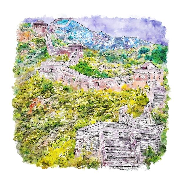 Hand gezeichnete illustration der great wall of china aquarell-skizze Premium Vektoren