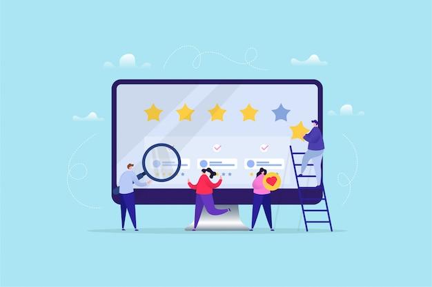 Hand gezeichnete illustration der online-bewertung / des feedbacks Premium Vektoren