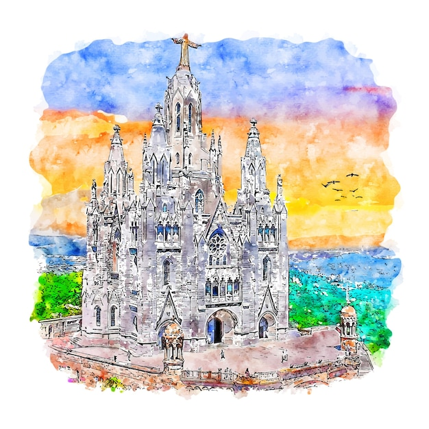 Hand gezeichnete illustration der tibidabo barcelona aquarell-skizze Premium Vektoren