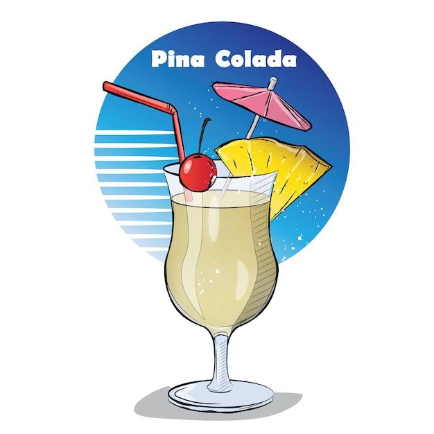 Hand gezeichnete illustration des cocktails. Premium Vektoren