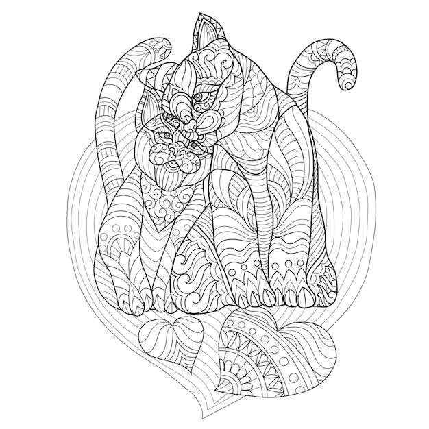 Hand gezeichnete illustration des katzenliebhabers Premium Vektoren