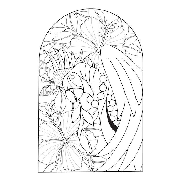 Hand gezeichnete illustration des papageien und der blume Premium Vektoren