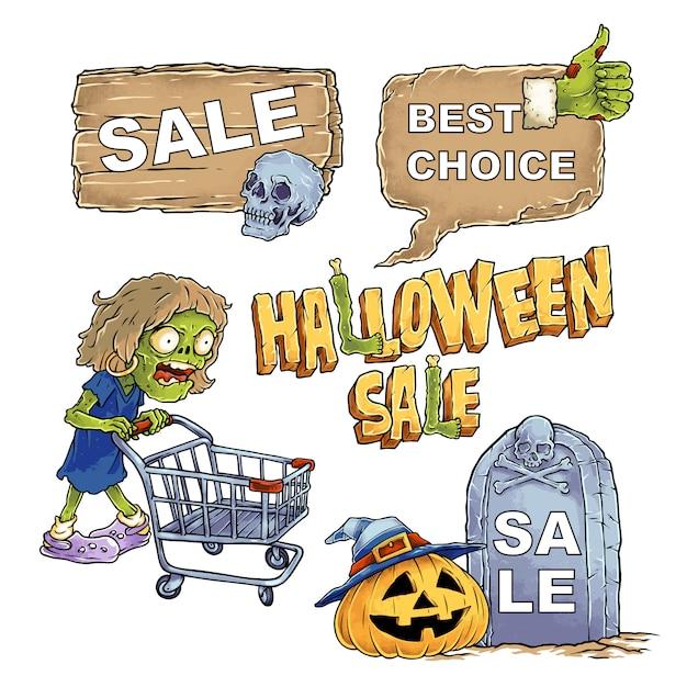 Hand gezeichnete illustration halloween mit verkaufs-fahnen-satz Premium Vektoren