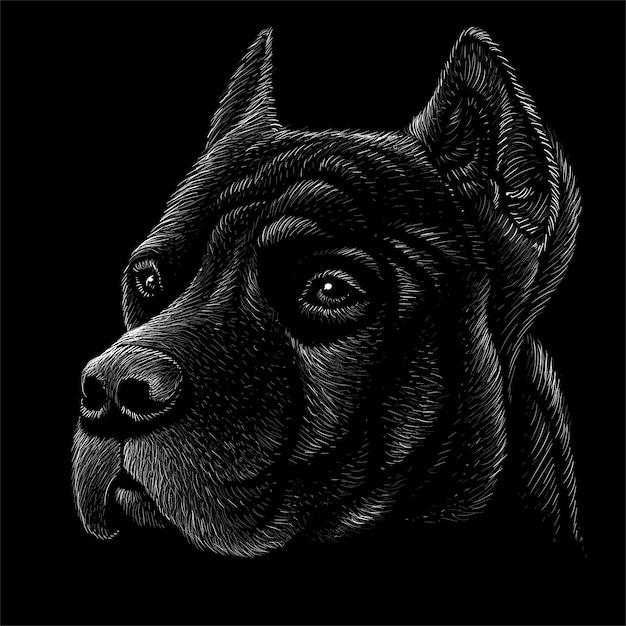 Hand gezeichnete illustration in der kreideart des hundes Premium Vektoren