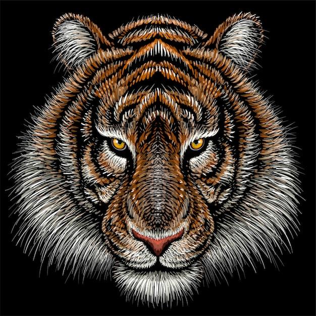 Hand gezeichnete illustration in der kreideart des tigers Premium Vektoren