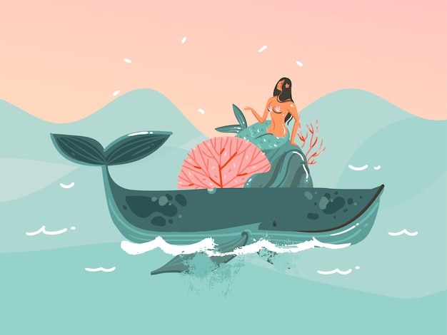 Hand gezeichnete illustration mit der jungen glücklichen schönheitsfrauen-meerjungfrau im bikini, die auf wal- und sonnenuntergang-ozeanszene auf blauem farbhintergrund schwimmt Premium Vektoren