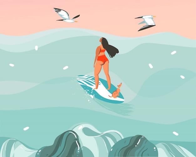 Hand gezeichnete illustration mit einem surfermädchen, das mit einem hund und möwen auf ozeanwellenlandschaftshintergrund surft Premium Vektoren