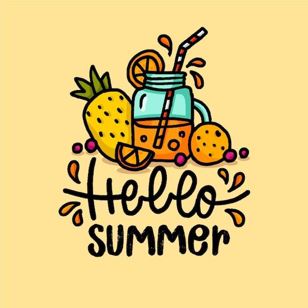 Hand gezeichnete illustration mit hallo sommerbeschriftung und fruchtsaft Kostenlosen Vektoren