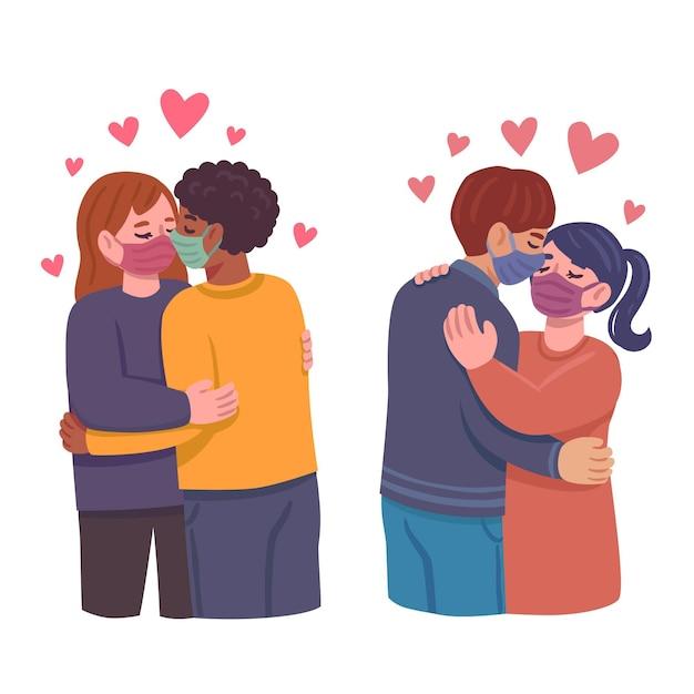 Hand gezeichnete illustration mit paaren, die mit covid maske küssen Kostenlosen Vektoren
