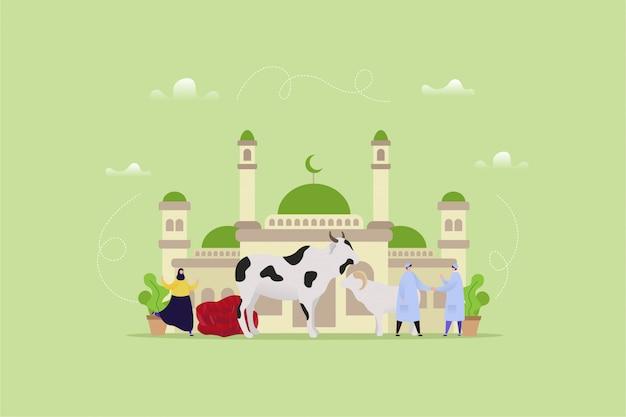 Hand gezeichnete illustration von eid al adha Premium Vektoren