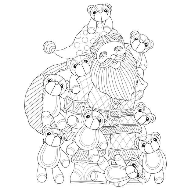 Hand gezeichnete illustration von santa claus- und teddybärpuppe Premium Vektoren