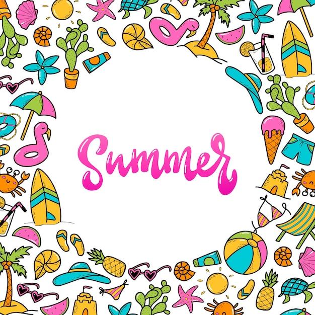 Hand gezeichnete illustration von sommerelementen und beschriftung im kreisrahmen Premium Vektoren