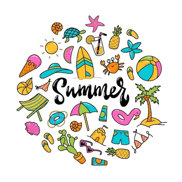 Hand gezeichnete illustration von sommerelementen und beschriftung Premium Vektoren
