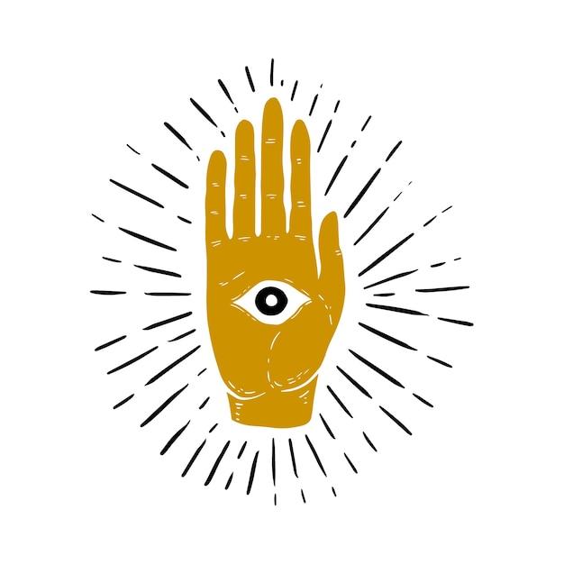 Hand gezeichnete illustration von sunburst, hand und alles sehende augensymbol. auge der vorsehung. freimaurersymbol. bild Premium Vektoren