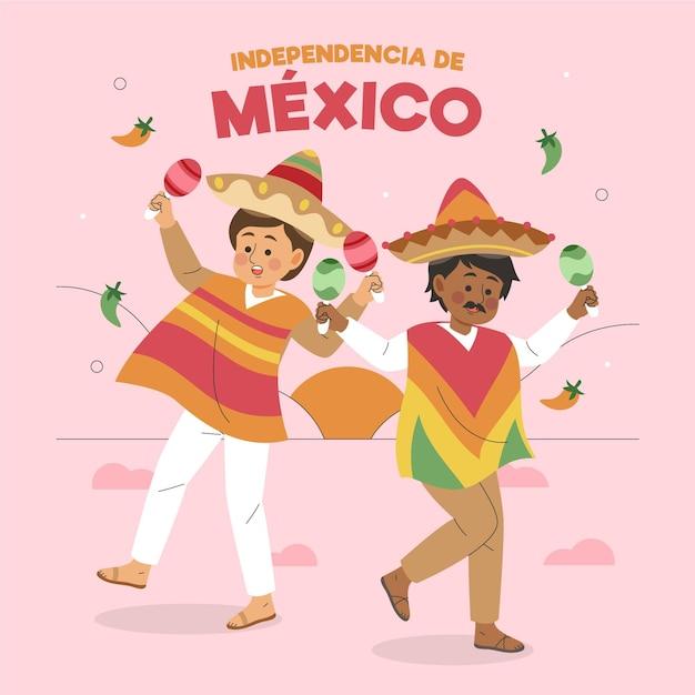 Hand gezeichnete independencia de mexiko mit zeichen Kostenlosen Vektoren