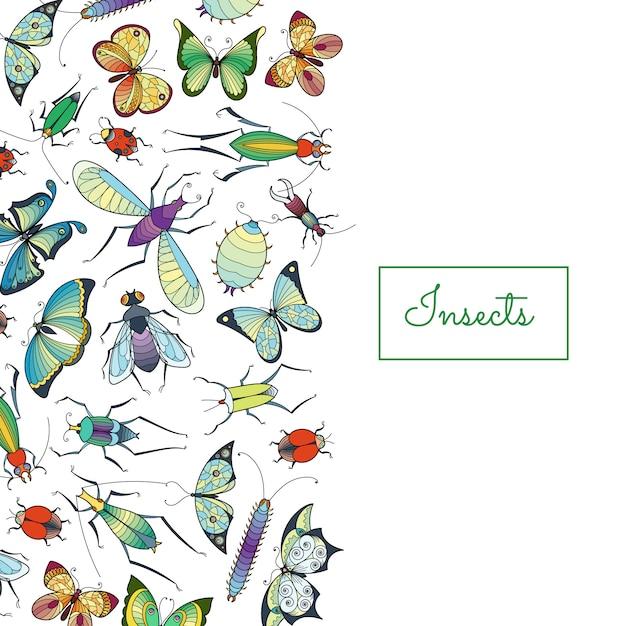 Hand gezeichnete insekten mit platz für textillustration Premium Vektoren