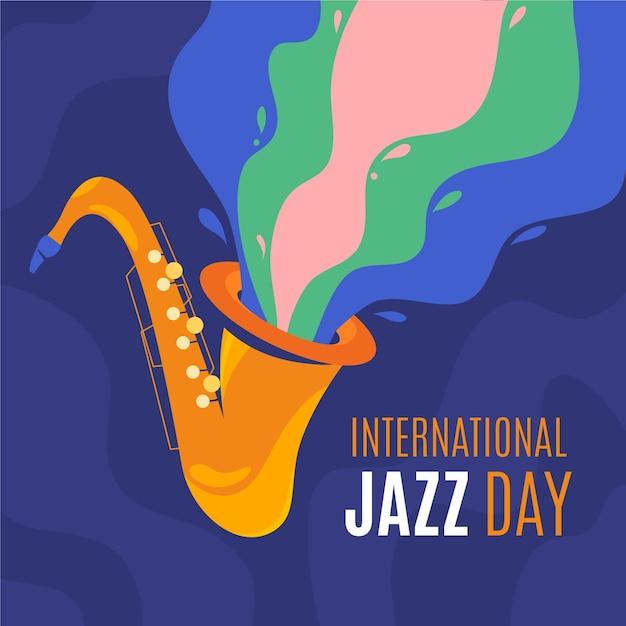Hand gezeichnete internationale jazz-tagesillustration Kostenlosen Vektoren