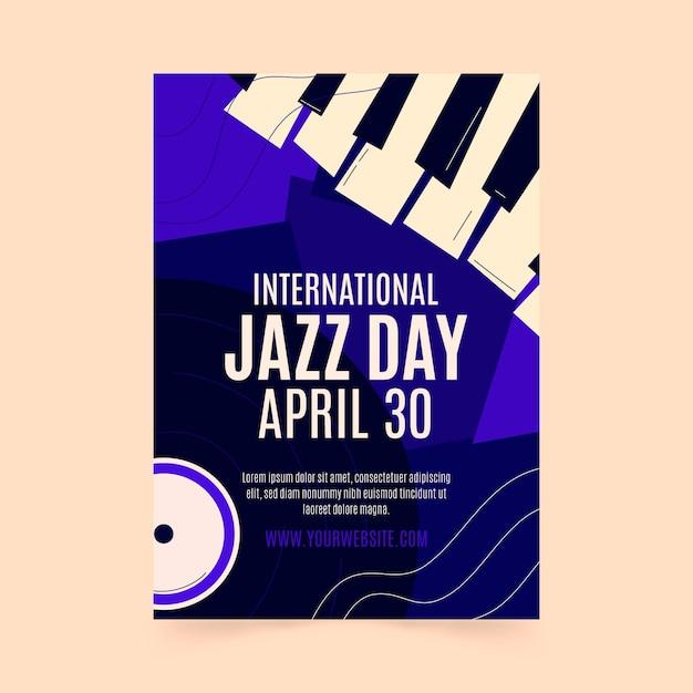 Hand gezeichnete internationale jazz-tagesplakatschablone Kostenlosen Vektoren