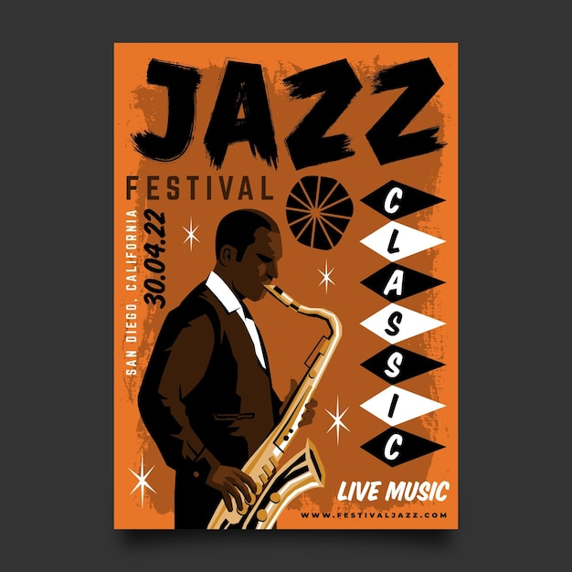 Hand gezeichnete internationale jazz-tagesplakatschablone Premium Vektoren