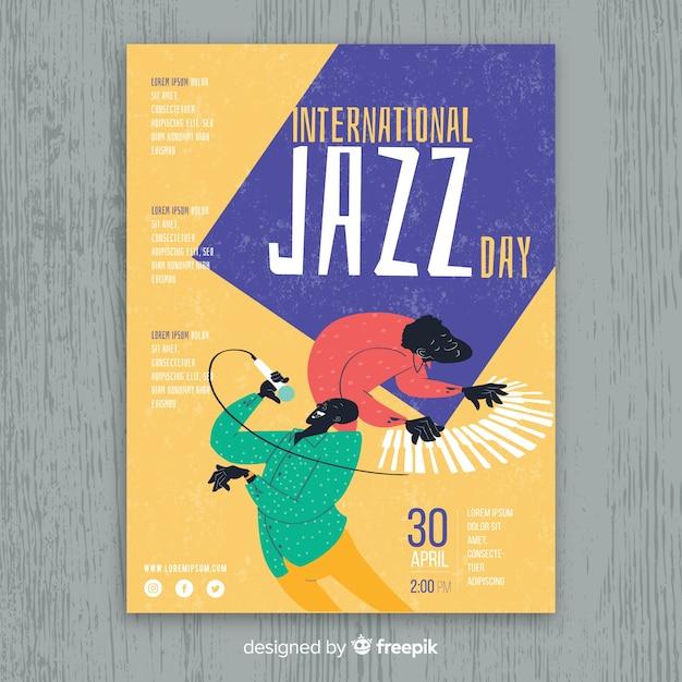 Hand gezeichnete internationale jazztagesplakatschablone Kostenlosen Vektoren