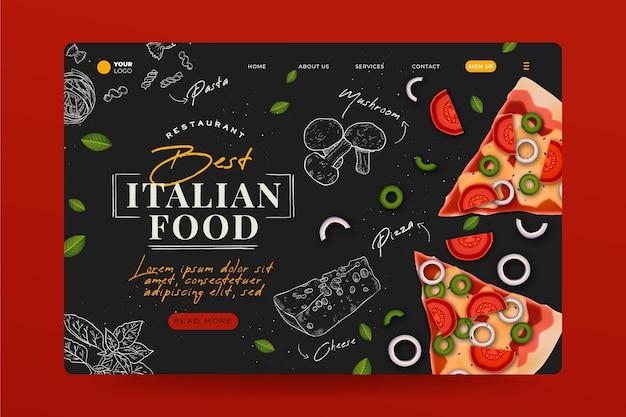 Hand gezeichnete italienische lebensmittel-landingpage Kostenlosen Vektoren