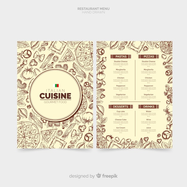 Hand gezeichnete italienische restaurantmenüschablone Kostenlosen Vektoren