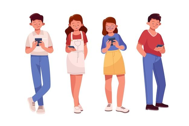 Hand gezeichnete junge leute mit smartphones Premium Vektoren