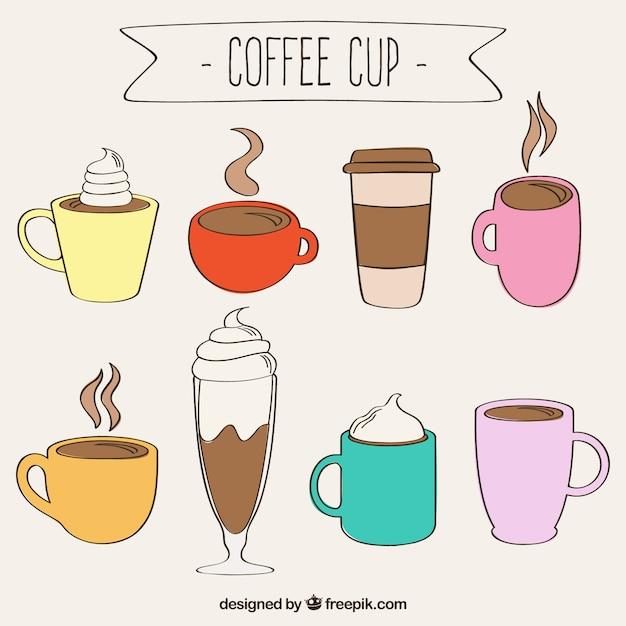 Hand Gezeichnete Kaffeetassen Download Der Kostenlosen