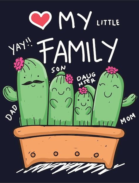 Hand gezeichnete kaktusfamilie für t-shirt Premium Vektoren