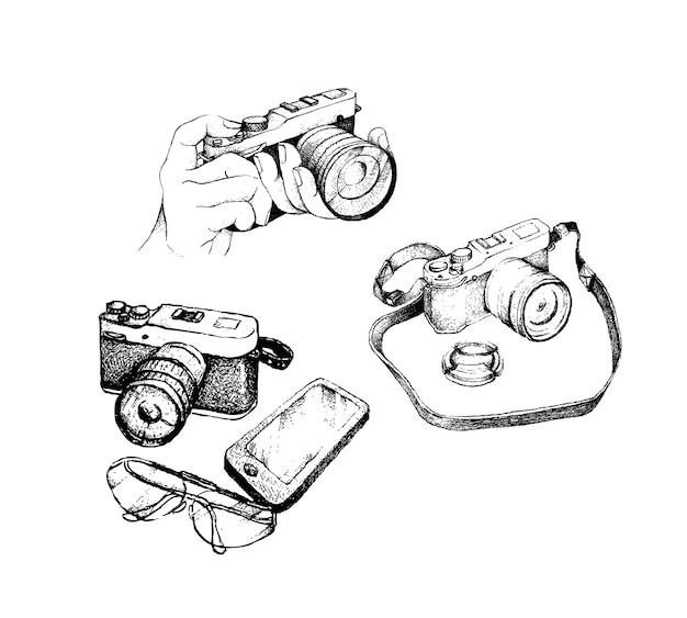 Hand gezeichnete kamera und gläser mit smartphone Premium Vektoren