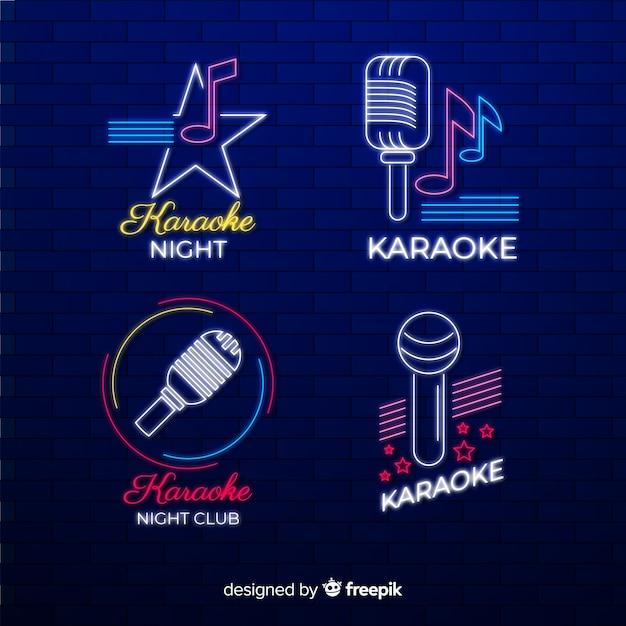 Hand gezeichnete karaoke-neonlicht-sammlung Kostenlosen Vektoren