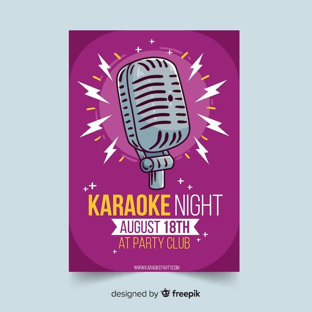 Hand gezeichnete karaoke-plakat-vorlage Kostenlosen Vektoren