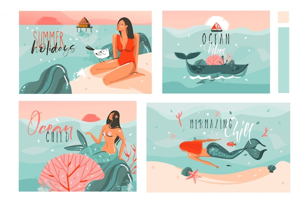 Hand gezeichnete karikatur-sommerzeitillustrationskarten-schablonensammlung, die mit strandmenschen, meerjungfrau und wal, sonnenuntergang und tropischen vögeln auf weißem hintergrund gesetzt wird Premium Vektoren