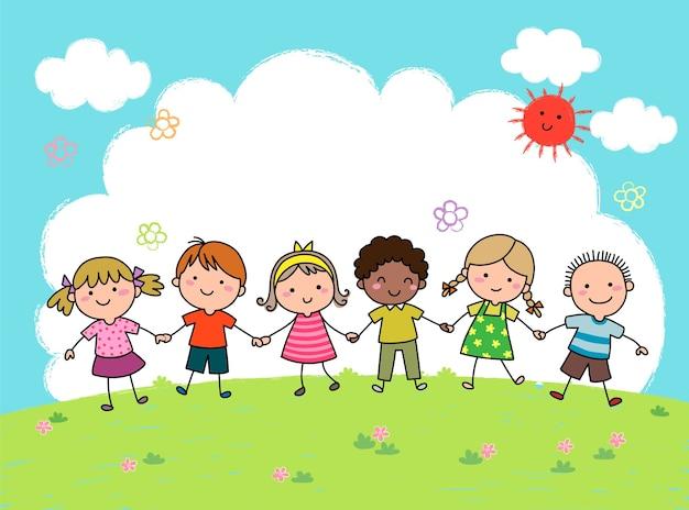 Hand gezeichnete karikaturkinder, die hände zusammen im freien halten Premium Vektoren