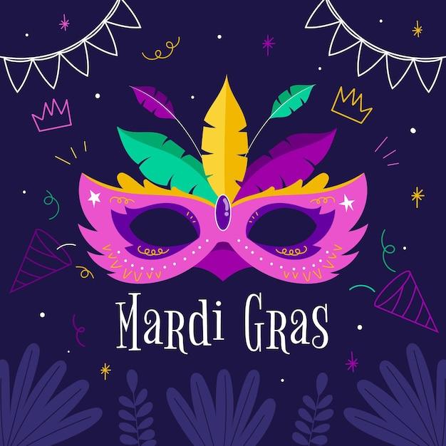 Hand gezeichnete karnevalmaske Kostenlosen Vektoren