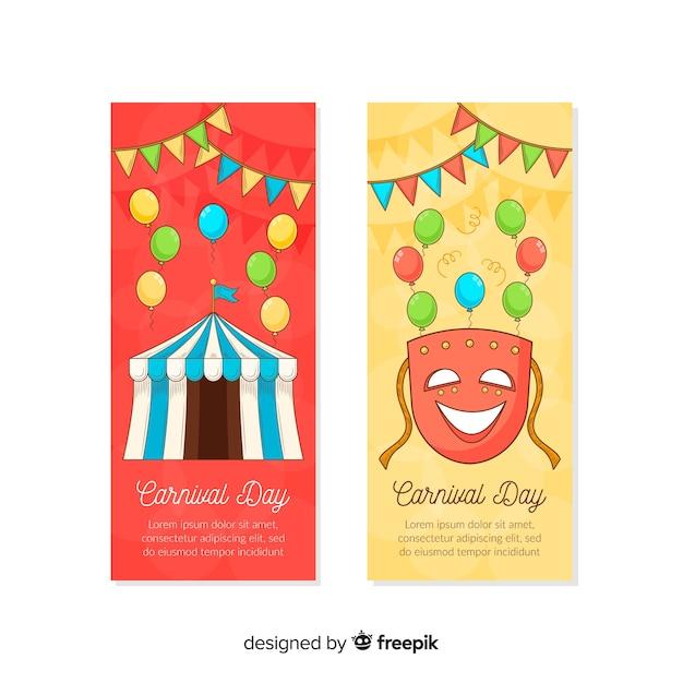 Hand gezeichnete karnevalsfahne Kostenlosen Vektoren