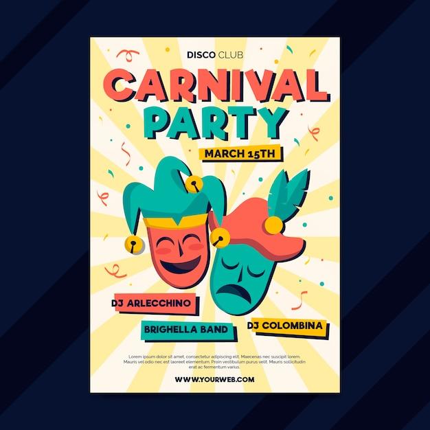 Hand gezeichnete karnevalspartyplakatschablone Kostenlosen Vektoren