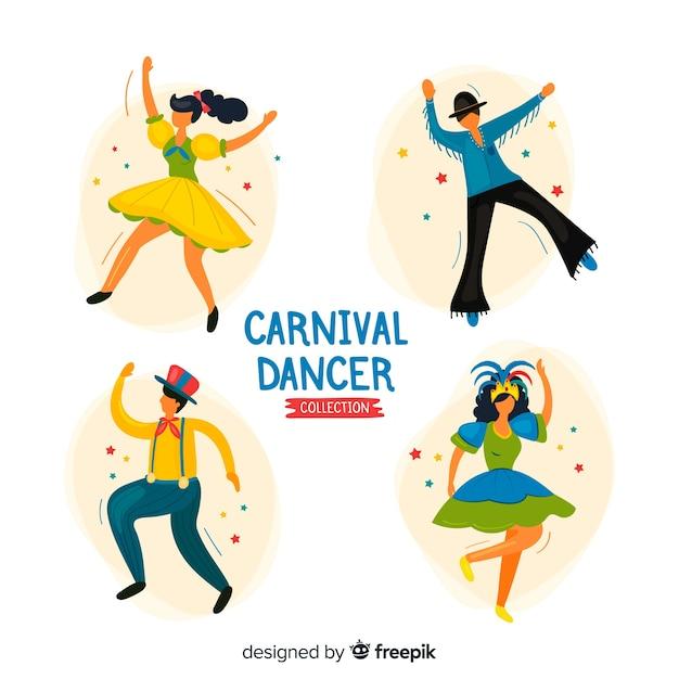 Hand gezeichnete karnevalstänzersammlung Kostenlosen Vektoren