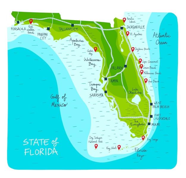 Florida Karte Drucken.Hand Gezeichnete Karte Von Florida Mit Hauptstädten Download Der