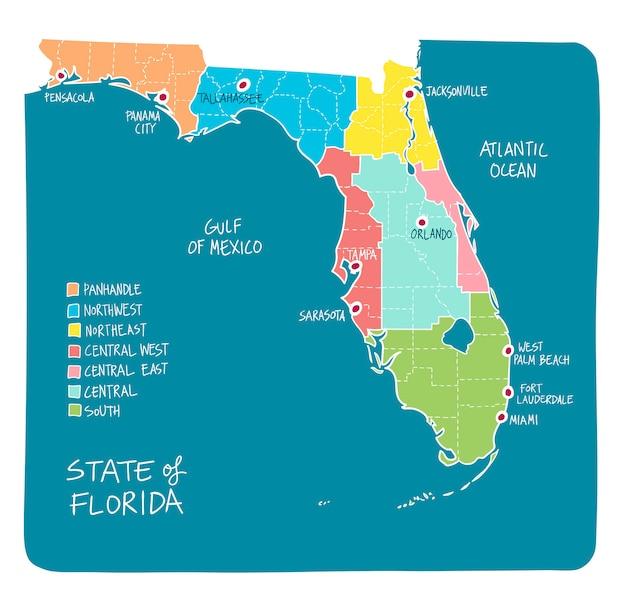 Florida Karte Drucken.Hand Gezeichnete Karte Von Florida Mit Regionen Und Landkreisen