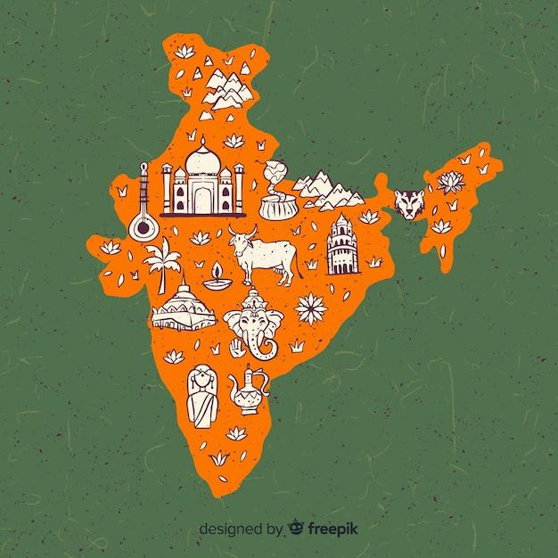 Hand gezeichnete karte von indien Kostenlosen Vektoren